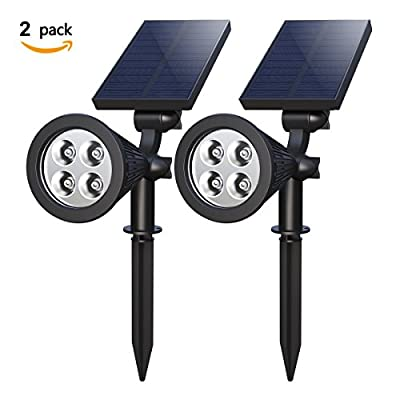 [Pack of 2]Solar Spotlight,Holan Powerful Solar Powered Security Spotlight Landscape Light,IP65 Waterproof,Auto on /off,180 °angle Adjustable, 2 in 1 Wall Light/In-ground Light for Outdoor Garden Backyard Pond Lawn Driveway Pathway - cheap UK light shop.