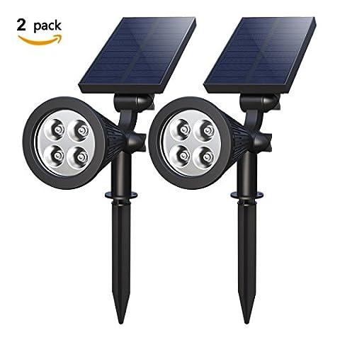 【Paquet de 2】Lampe de jardin solaire, Holan 4-LED 180 ° réglable Imperméable éclairage de sécurité Spot extérieur Avec Auto On / Off Pour la cour intérieure de Patioy Patio Gardens Lawn Pool