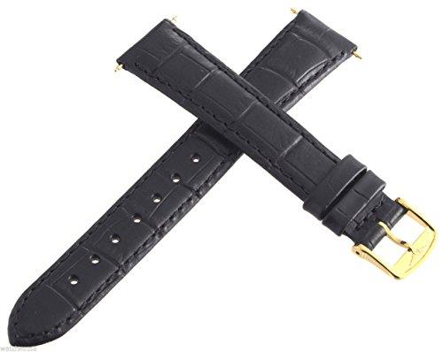 Longines Ersatz-Uhrenarmband für Herren, 17 mm, Goldfarbene Schnalle, Schwarz