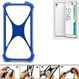 K-S-Trade Bumper für Sony Xperia XA Ultra Silikon Schutz Hülle Handyhülle Silikoncase Softcase Cover Case Stoßschutz, blau (1x)