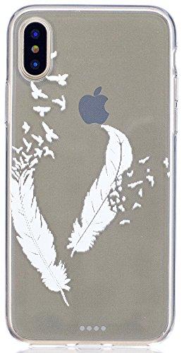"""Coque Iphone X Edition, Iphone X Case, Iphone X Coque, Iphone X Protection, Coque Iphone 10 euros, Nnopbeclik® """"Mignonne Motif"""" Imprimé Colorful Style Flexible Protection en TPU Gel Silicone Soft/Doux plume"""