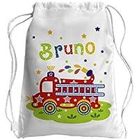 Turnbeutel mit Name, Feuerwehr, Geschenk zur Einschulung, zum Geburtstag, zu Weihnachten, Kindergarten, Kita,