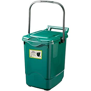 large compost caddy green for food waste recycling 23 litre 23l plastic composting kerbside bin with composting guide