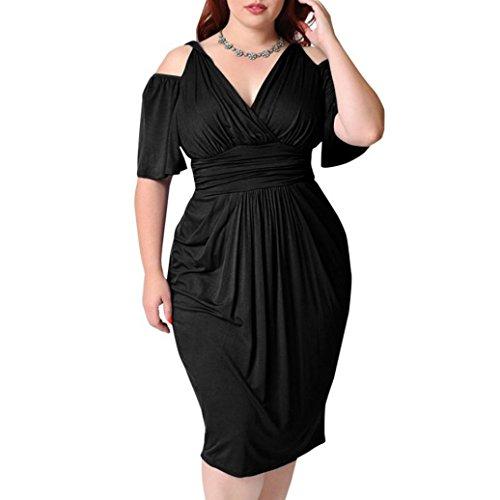 smileq Damen Plus Größe Wrap V-Ausschnitt Kleid sexy massiv Casual Short Sleeve Kalte Schulter Sundress Figurbetont Rock, Schwarz , XXXXXL