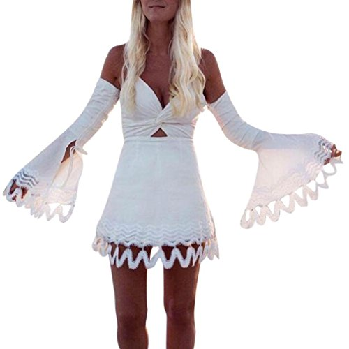 Frau Tanz Kostüm Business - feiXIANG Frauen Sommer Kleider Damen Boho Kleid Abend Party Mini - Kleid Einfarbig Rock Frau Spitze V-Ausschnitt Bodycon Abendkleider A-Linie Partykleider (L, Weiß)
