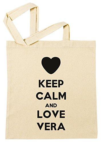 Erido Keep Calm and Love Vera Einkaufstasche Wiederverwendbar Strand Baumwoll Shopping Bag Beach Reusable