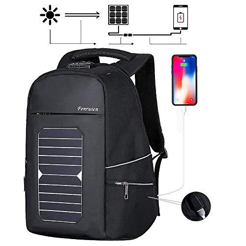 Eshow Männer Laptop Rucksack mit USB-Port-Ladegerät Solar-Ladegerät für Reise-diebstahlsichere umweltfreundliche Leinwand Daypack Schul...