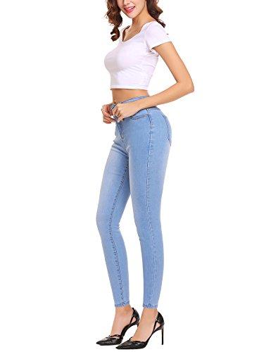 Lomon Damen Jeans Skinny Stretch Dünn Gerades-Bein Schlank Denim Jeggings Lichtblau