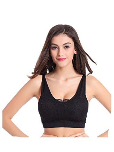Femmes Soutien-gorge de sport Sans armature Ultimate run bra Pour Pilates Running fitness Yoga Sports Bra Dentelle Modèles Minces Grande Taille antichoc Noir