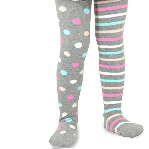 Naartjie Strumpfhose für Mädchen, Baumwolle, 2015 Gr. Large, Multi Dots & Stripes - H. Grey (Multi-stripe-strumpfhose)