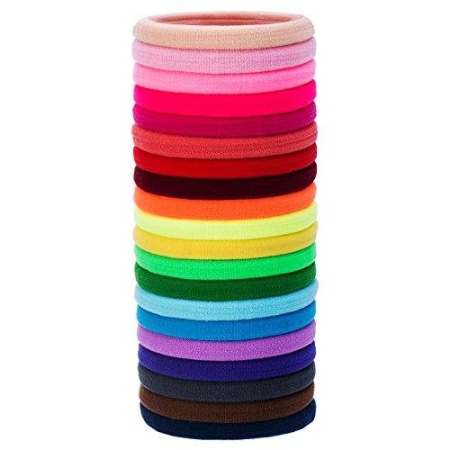 20 pezzi grande nero elasticizzato elastico per capelli di cotone bande corda di ponytail fermacoda per capelli spessi pesanti e ricci (multicolore)