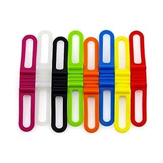 VORCOOL Fahrrad Silikonband Bandbandage Elastische Taschenlampe Halterung fuer Taschenlampen Handys Lautsprecher Lichter Halter Fahrrad Lenker (8 pcs)