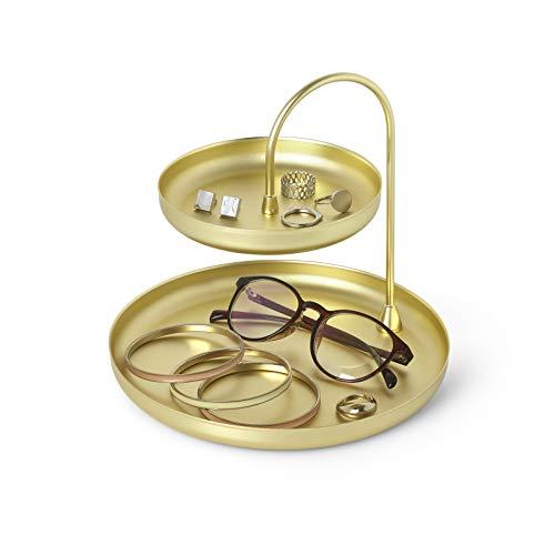 Umbra Poise Schmuckaufbewahrung - Elegante Doppelstöckige Ablage für Schmuck, Uhren, Accessoires, Brillen und Mehr, Metall/Messing