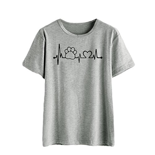 Preisvergleich Produktbild feiXIANG Mode Frauen Damen Kurze ärmel Locker Baumwoll t - Shirt. (XXL,  Z / Grau)