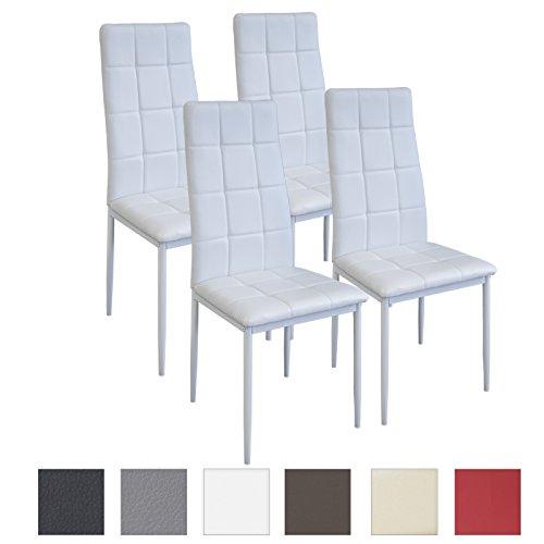 Albatros - Set di 4 sedie per sala da pranzo RIMINI, colore: Bianco