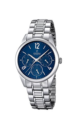 Festina Women's Quartz Watch with Blue Dial Analogue Display and Silver Stainless Steel Bracelet F16869/4