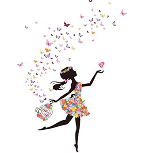 Berrose -Das Schmetterling Blumenfee Kinderzimmer Kinderzimmer Wandaufkleber Vinyl Wandaufkleber New Butterfly Flower Fairy Wande-Haus Dekoration Kinder Zimmer