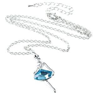 eFuture(TM) Ocean Blue Angel Dance Girl Dancing Ballerina Crystal Pendant Necklace With Keyring
