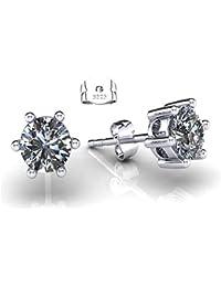ONECK Boucles d'Oreilles Femme en Argent 925, Clous d'Oreilles à 6 Griffes, Oxyde de Zirconium Cubique Diamanté, Bijou Idéal comme Cadeau pour Femme Fille