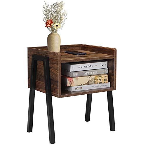 Cocoarm Nachttisch Vintage, Stapelbarer Beistelltisch Nachtschrank Retro Kaffeetisch Sofatisch mit Offenem Fach Metallgestell Holzoptik 46 x 25.7 x 52cm