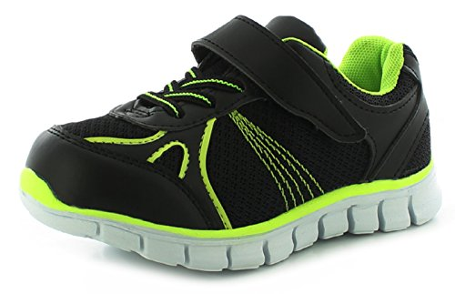 New Boys/Childrens Black Lace Ups/Touch Fastening Trainers. - Black/Neon - UK SIZE 10