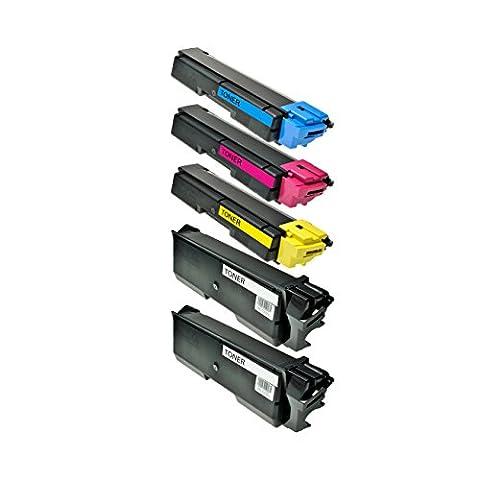 5 Toner für TK580 TK-580 für Kyocera Ecosys P6021cdn, FS-C5150dn - Schwarz je 4.000 Seiten, Color je 3.000 Seiten