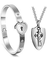 Leegoal Concentric Lock Couple Bracelet Hypoallergenic Fashion Titanium Steel Bracelet Necklace for Lover Sweetheart Husband Wife