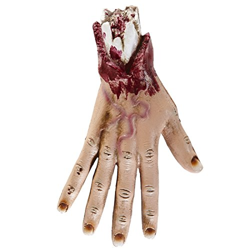 Halloween Körperteile Abgetrennte Gliedmaßen Hand Abgehackte Hand Verstümmelte blutige Hände Horror Stumpf mit Fleischwunden Abgerissenes Körperteil mit Wunden Halloweendekoration gruselig