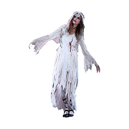 Kostüm Cosplay Corpse Bride - Fenical Frauen Cosplay Blut Corpse Bride Halloween langes Kleid Party Cosplay Kostüm mit Schleier - Größe M (weiß)
