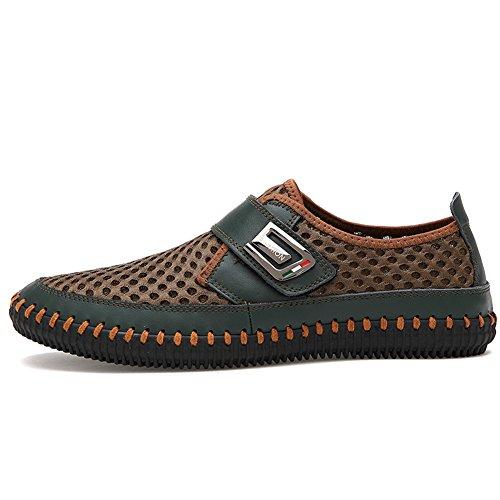Gomnear Décontractée Chaussures Hommes Respirant Chaussures Été Cuir Glisser sur Mode De plein air Au volant En marchant vert foncé