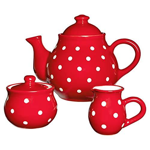 City to Cottage   Service à thé   rouge à pois blancs en céramique fait et peint à la main   grande théière 1,7L 4-6 tasses, pot à lait, sucrier