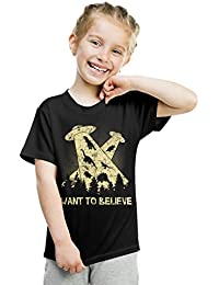Crazy Dog TShirts - Youth I Want To Believe In Dinosaurs UFO T Shirt Funny Sci Fi Tee - Camiseta Para Niños