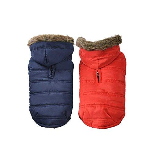 BLURY Cappottino Cane Felpa con Cappuccio per Cani Vestiti Imbottito  Inverno per Cani Cuccioli Costume Abbigliamento con Chiusura in Velcro per  Pet Cani ... 0a04c6882f6