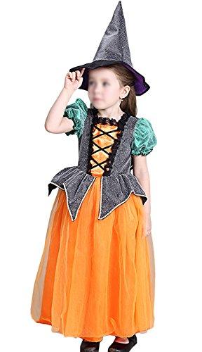 der Hexe Kostüm Zubehör Fairy Halloween Cosplay Partei Abendkleid Mädchen Cosplay Fledermaus Fantasie-Kostüm Fleece-Overall Halloween Kostüm schwarz orange (3-11 Jahre alt) (Halloween-kostüm-ideen Für 9 Monate Alt)