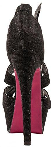 Elara Plateau Pumps | Party Stiletto High Heels | T-Strap Riemchen Glitzer | chunkyrayan Schwarz Highlight