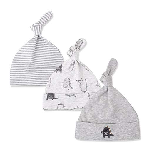 CuteOn 3 Pack Baby Beanie Knoten Hut Neugeboren Jungen Mädchen Baumwolle Einstellbar Kappe zum Baby 0-6 Monate 07-Monster