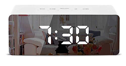Jnday Digitaler Wecker LED-Anzeige Multifunktionsspiegel Wecker Uhrzeit Temperaturanzeige Snooze-Funktion 2 Helligkeit Helligkeit Akku-Netzteil/USB-Netzteil -