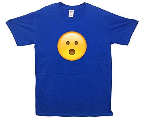 Surprised Face Emoji T-Shirt Blau