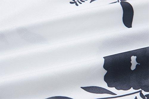 Spalle Scoperte a Maniche Lunghe con manica tromba a campana svasate a Fiori Fondo a volant a pieghe Mini Skater A-Line Linea Ad A Svasato Vestito Abito Nero