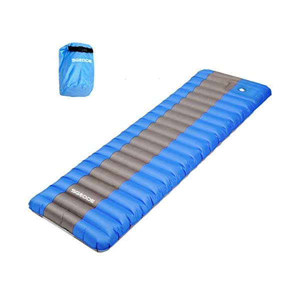 SGODDE Inflating Sleeping Pad Camping Mattress, Inflatable Sleeping Mat Ultra Thick 12 cm Compact & Waterproof | Durable & Ultralight for Outdoor Backpacking, Camping, Hiking, Sleeping bag (Blue) 1