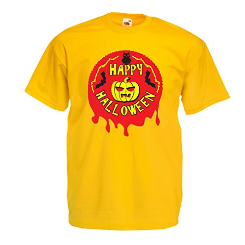 lepni.me Männer T-Shirt Happy Halloween! - party clothes - pumpkins, owls, bats (X-Large Gelb Mehrfarben)