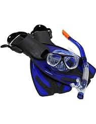 Ultrasport Bahamas - Set de esnórquel con máscara, tubo de esnórquel, aletas y bolsa de transporte color azul marino, talla 42-45