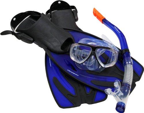 Ultrasport Tauchset Schnorchelset Diver Bestehend aus Maske Flossen und Aufbewahrungstasche Set de Snorkel, Unisex, Azul Marino, 42-45