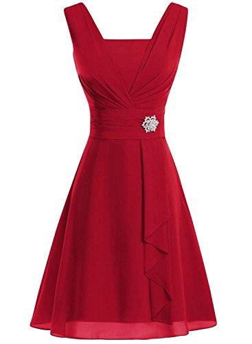 AZBRO Damen Elegant Trägerloses Samt Metall-Gürtel Prom Kleid Burgundy
