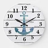 JeremyHar75 - Reloj de Pared de Madera con diseño rústico de Ancla Azul náutico, silencioso, Moderno para Sala de Estar, Cocina, Dormitorio, decoración de Pared, Regalos de inauguración de la casa