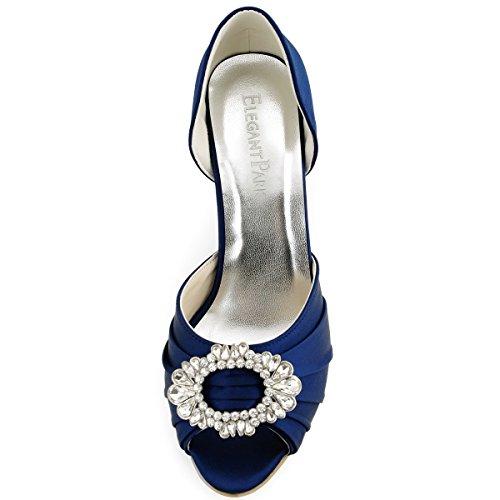 ... ElegantPark A2136 Damen Peep Zehen Pumps Falten Satin Strass Oval  Schnalle Tanzschuhe Brautschuhe Marineblau ... 14e424a209