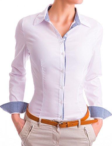 Damen Elegante Hemden Tailliert Figurbetonte Langarm Blusen Business (531), Farbe:Weiß, Größe:X-Large
