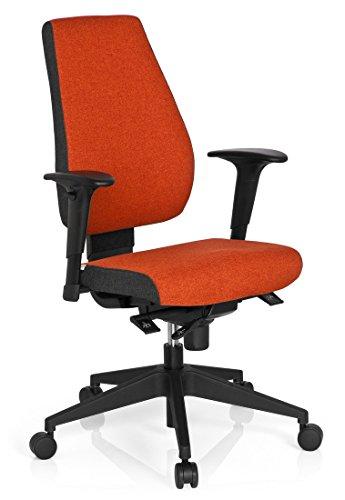 hjh OFFICE 608818 Bürostuhl Drehstuhl PRO-TEC 500 Stoff dunkelgrau rot, Bürodrehstuhl ergonomisch,sehr gute Polsterung, Rückenlehne höhenverstellbar, verstellbare Armlehnen, Schreibtischstuhl