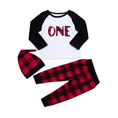 n Plaid Spleißen Kleider Brief Gedruckt Bluse Oberteile + Freizeithosen + Hut Set Outfits 3 Stück Spielanzug Jogginganzug Dreiteiligen Anzug (90, Rot) (Rote Haut Anzug Kinder Kostüme)