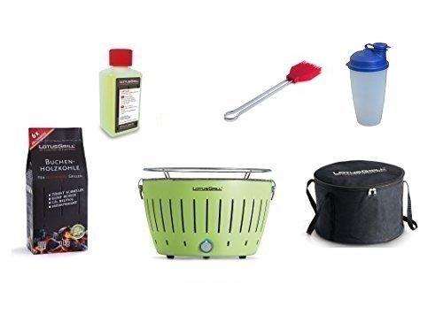 LotusGrill démarrage 1x vert lime 1x charbon de bois hêtre 1kg, 1x Pâte brûlante 200ml, 1x Mariner feu, 1x Shaker sauce, 1x sac transport - Der rauchfarme Barbecue / table en diverses Joyeux